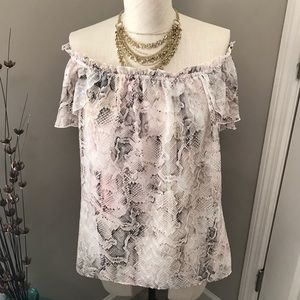 WHBM Snake off the Shoulder Blouse